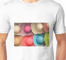 Colorful Straw Hats at the Market Unisex T-Shirt