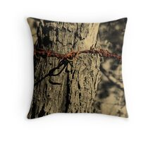 Fence Post with Barbed Wire Throw Pillow