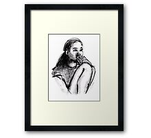 Girl Sitting Thinking Framed Print