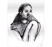 Girl Sitting Thinking Poster