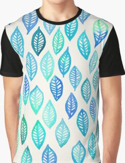 Watercolor Leaf Pattern in Blue & Turquoise Graphic T-Shirt