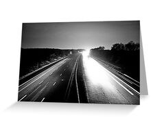 Monochromatic Motorway Lights Greeting Card