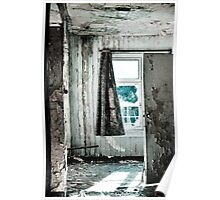 Grungy battered urbex window Poster