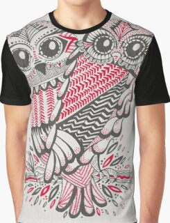 Owls – Pink & Grey Graphic T-Shirt