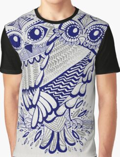 Owls – Silver & Navy Graphic T-Shirt