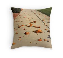 Orange Leaf Road Throw Pillow