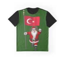Santa Claus With Flag Of Turkey Graphic T-Shirt