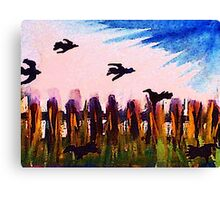 Fence line and ravens, watercolor Canvas Print