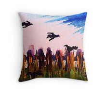 Fence line and ravens, watercolor Throw Pillow
