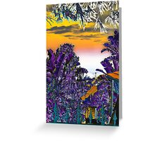 House in the shade of purple trees Greeting Card