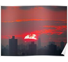 December Sunset, New York City Poster