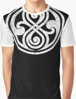 Seal of Rassilon - Classic Doctor Who - White on Black (Distressed) Graphic T-Shirt