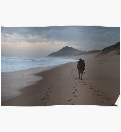 Mozambican Beach - Lone Beach Hiker Poster