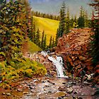 Landscape Painting - Falls at Crested Butte - 12&quot; x 12&quot; Oil by Daniel Fishback
