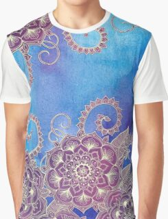 Magnolia & Magenta Floral on Watercolor Graphic T-Shirt