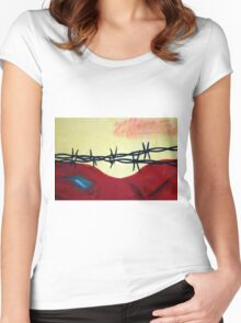Abstract - barbed wire  Women's Fitted Scoop T-Shirt