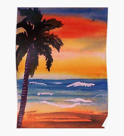 Lone palm on beach, watercolor Poster