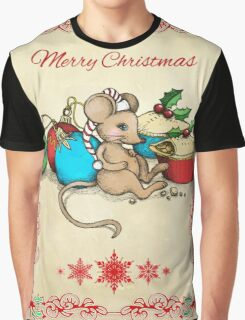 Love, Joy, PIE! Merry Christmas! Cute mouse illustration Graphic T-Shirt