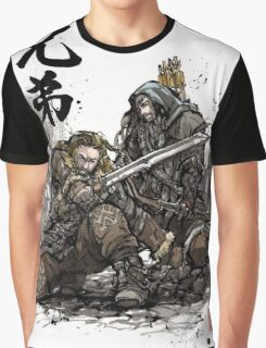 Kili and Fili from the Hobbit sumi ink and watercolor Graphic T-Shirt
