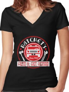 Ratchet's Auto & Bot Repair Women's Fitted V-Neck T-Shirt