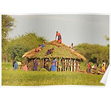 Masai women building a home in Tanzania Poster