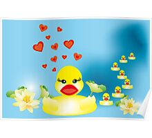 Duck family swimming in lake Poster