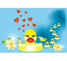 Duck family swimming in lake Photographic Print