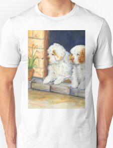 Two Clumbers in a doorway Unisex T-Shirt