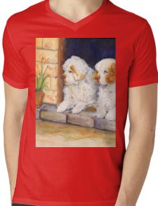 Two Clumbers in a doorway Mens V-Neck T-Shirt