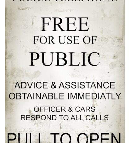 Police Box Vintage Sign Sticker