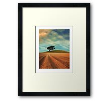 Furrowed Field with a Tree and a Hill Framed Print