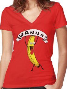 Wanna Banana? Women's Fitted V-Neck T-Shirt