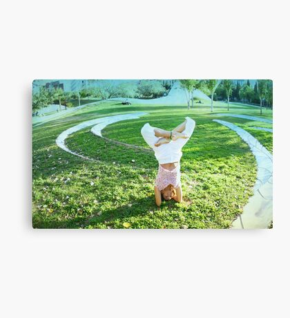 Headstand in full lotus  Canvas Print