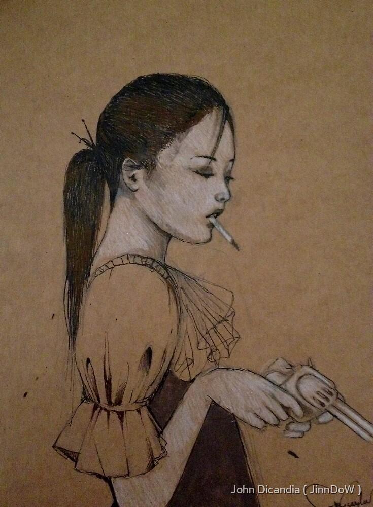 Smoking Girl With A Gun by John Dicandia ( JinnDoW )