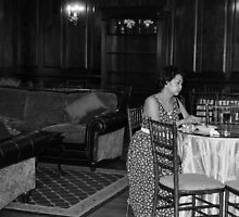 Table for One BW by Margaret  Shark