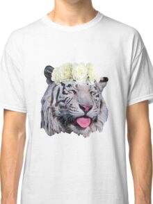 White Tiger Flower Crown Classic T-Shirt
