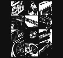 Ford Falcon XY GT T-Shirt (12 Grid BW) by blulime