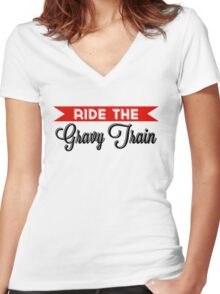 Ride The Gravy Train Women's Fitted V-Neck T-Shirt