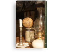 Window Candle and Lamp Canvas Print