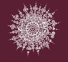 Heart Centred Mandala - white print by TangerineMeg
