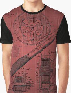 Fishing Reel Patent 1906 - Burgundy Graphic T-Shirt