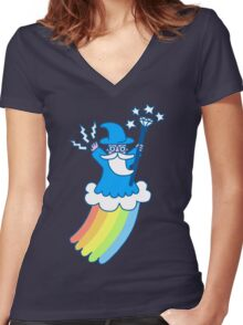 Rainbow Wizard Women's Fitted V-Neck T-Shirt