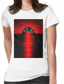 Vinyl sunset red Womens Fitted T-Shirt