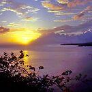Sunset, Tahiti, Point Venus, Moorea. by johnrf