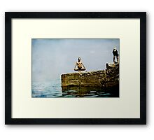 Yoga by the sea Framed Print