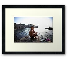 Kids in the beach, Mallorca Framed Print