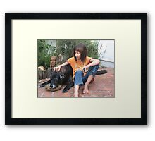 Young Girl and Old Dog Framed Print