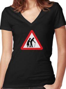 Elderly People (I), Traffic Sign, UK Women's Fitted V-Neck T-Shirt