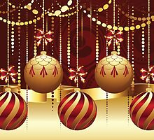 Decorative Gold Xmas Balls 7 by AnnArtshock