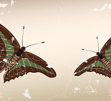 Hand drawn butterflies in vintage design by schtroumpf2510